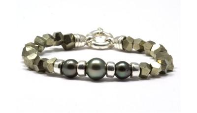 Kamaole Tahiti parel armband met pyriet voor mannen