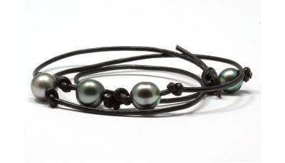 Maha`ulepu heren armband met Tahitiparels