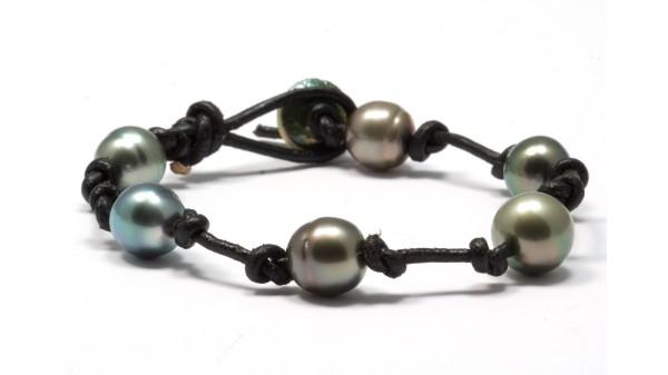 Makalawena armband met 9-11mm Tahiti parels voor mannen