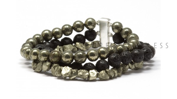 Pahoehoe heren armband met pyriet en lava