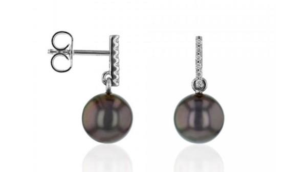 Tahiti parel oorbellen met 0,06 ct diamant