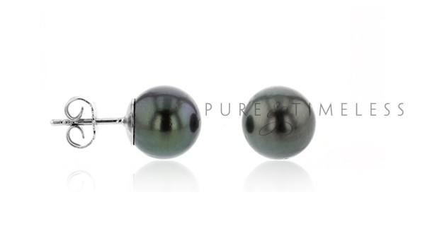 Gerhodineerd zilveren oorknopjes met Tahiti parel 8-9 mm