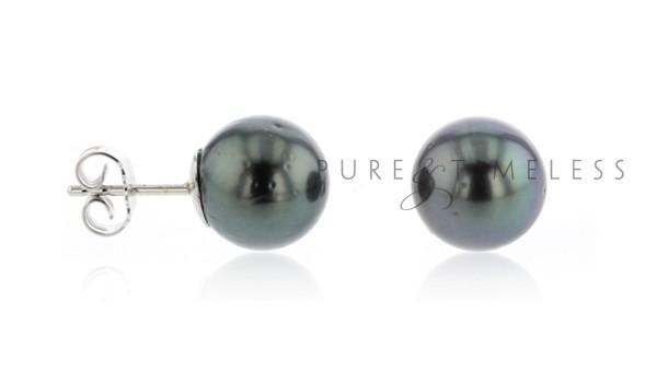 Gerhodineerd zilveren oorknopjes met Tahiti parel 10-11 mm