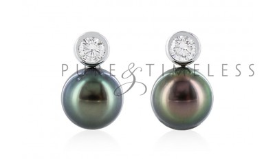 18 karaat witgouden Tahiti parel oorbellen met diamant 9,5-10 mm