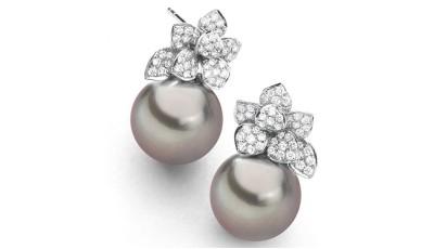 Witgouden 11-12 mm Tahiti parel oorbellen met diamant