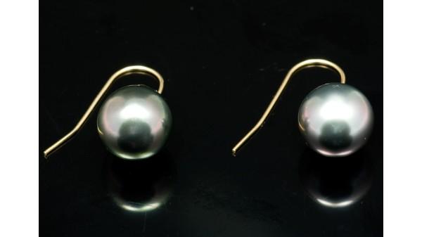 Tahitiparel oorhangers geelgoud handgemaakt