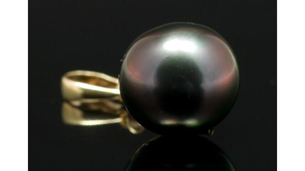 Tahitiparel zwart op 14 karaats geelgouden Omega collier