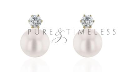 Parel oorbellen Akoya AAA 8,5-9 mm met diamant
