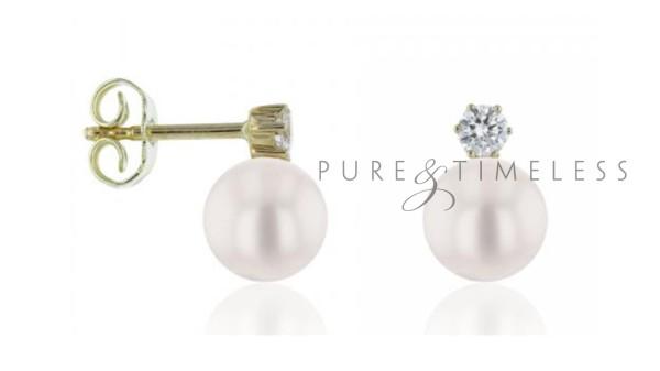 Akoya oorknopjes met diamant 7,5-8 mm