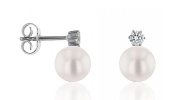 Akoya oorknopjes met diamant 7,5-8 mm witgoud