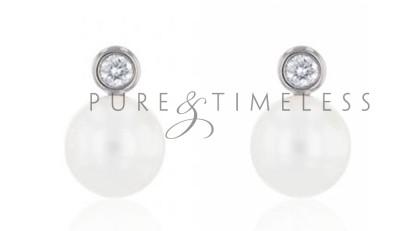 Diamant 8,5-9 mm Akoya parel oorknopjes 18 karaat witgoud