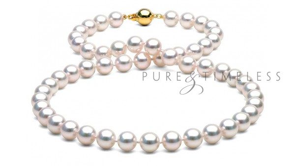 Akoya parelketting AA+ 7,5-8 mm geelgoud