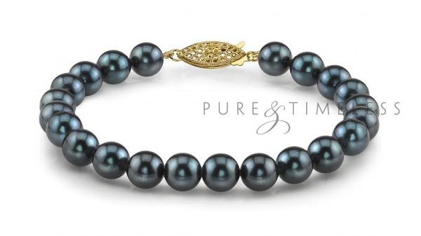Armband zwarte parels Akoya AA+ en geelgoud