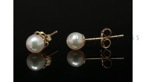 Gouden Akoyaparel oorbellen AAA kwaliteit