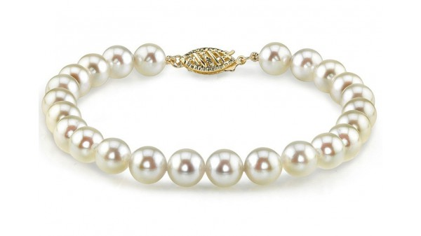 Parel armband Akoya 7,5-8 mm AA+ geelgoud