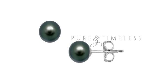 Akoya parel oorknopjes, AA, zwart 7-8 mm, 14 krt witgoud