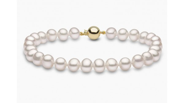 Parel armband zoetwaterparels 7-7,5 mm goud AAA