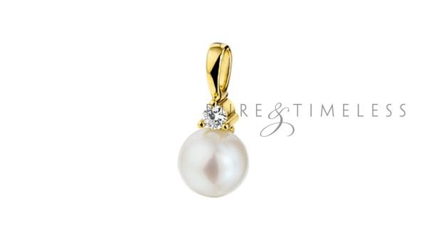 14 karaat gouden parelhanger met diamant