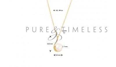 Gouden collier met parel hanger 40 42 44 cm