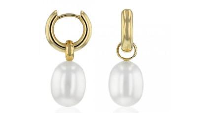 Gouden oorringen met een 9-9,5 mm druppel parel