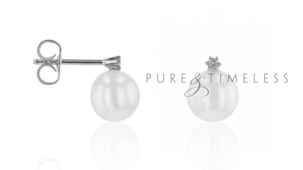 Witgouden oorstekers met zoetwaterparel en diamant 6,5-7 mm