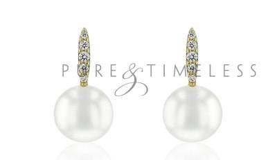 14 karaat gouden oorbellen met zoetwaterparel en diamant