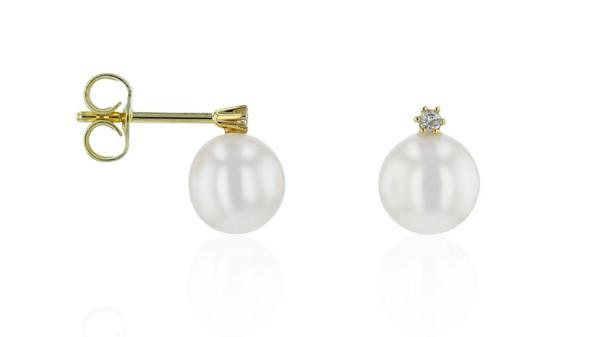 Gouden oorstekers met zoetwaterparel en diamant 6,5-7 mm