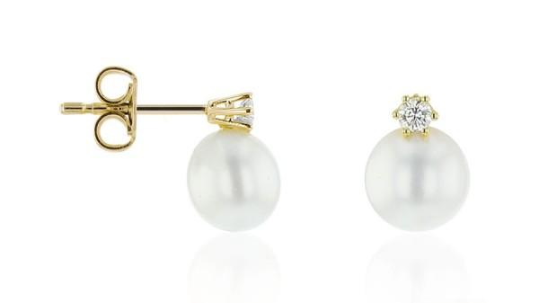 Parel oorbellen met bouton parel en diamant