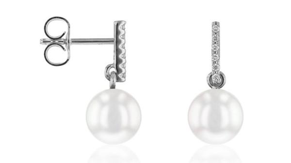 Witgouden parel oorbellen met 0,06 ct diamant