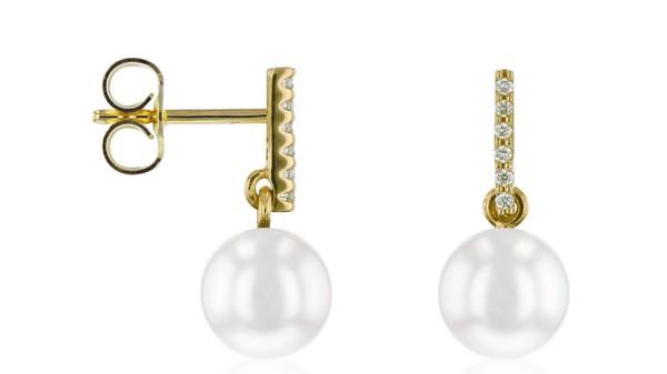 Gouden parel oorbellen met 0,06 ct diamant