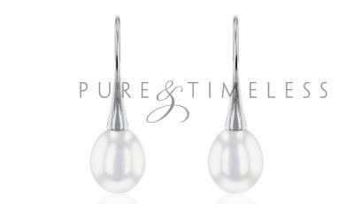 Zilveren oorhaken met druppel parel