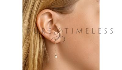 Parel oorhangers geelgoud met 4 mm zoetwaterparel
