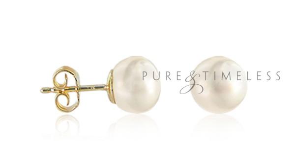 Bouton parels op gouden stekers 6-6,5 mm