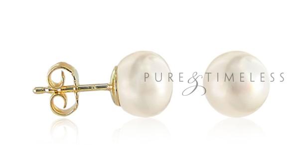 Bouton parels op gouden stekers 9 9.5 mm