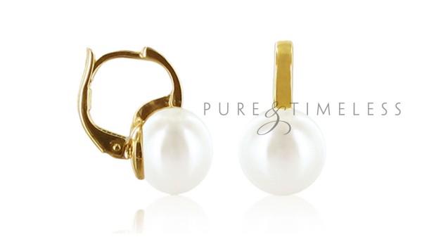 Gouden oorringen met 9-9,5 mm zoetwaterparel