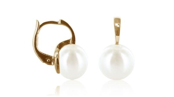 Gouden oorringen met 7,5-8 mm zoetwaterparel