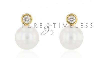 Oorstekers 18 karaat goud met 7.5-8 mm parel en diamant