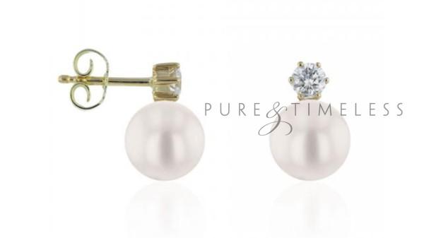 Akoya oorknopjes met diamant 8,5-9 mm witgoud