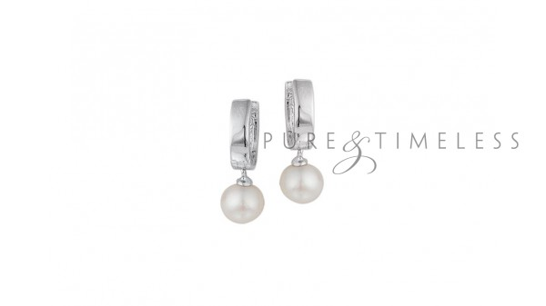 Clapcreolen parel 8 mm gerhodineerd zilver