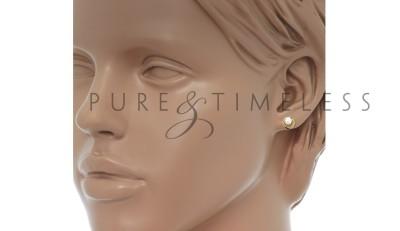 Gouden oorknoppen met pareltje