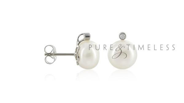 Witgouden oorstekers met 9,5-10 mm parels en diamant