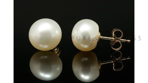 Zoetwater pareloorbellen, AA+ op 14 k goud 8,5-9 mm