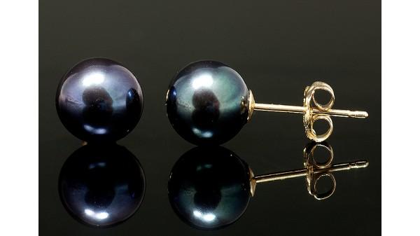 Zwarte pareloorbellen op 14 karaats goud AAA