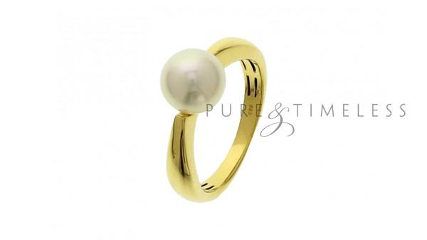 8 mm Zoetwater parel ring in geelgoud
