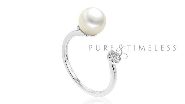 Witgouden parel ring met 7,5-8 mm zoetwaterparel en diamant