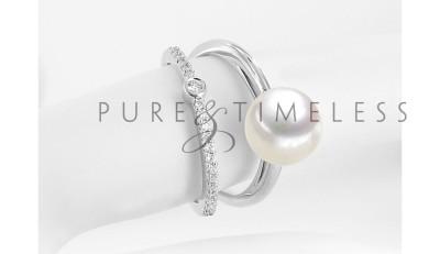 Witgouden ring met 9-9,5 mm zoetwaterparel en 20 diamanten
