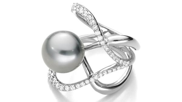 Zeer exclusieve Tahiti parel ring met diamanten