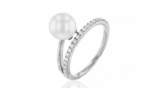 Witgouden ring met 7,5-8 mm Akoya parel en diamant