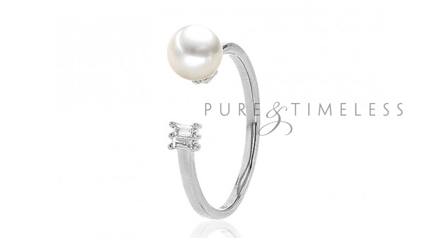 Witgouden parel ring met 6-6,5 mm Akoya parel en diamant