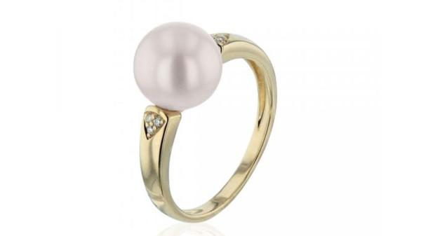 Gouden ring met 9-9,5 mm zoetwaterparel en diamant
